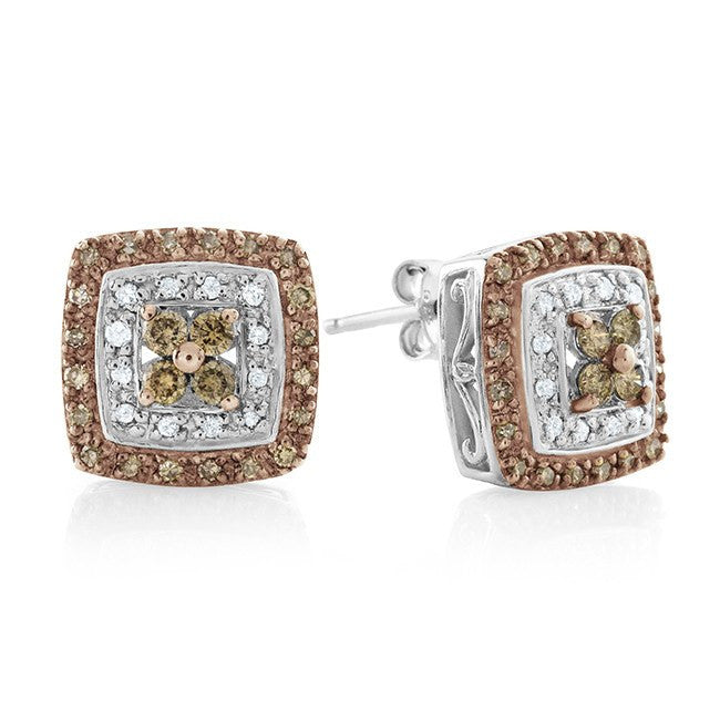 0.50 Carat Champagne & White Diamond Earrings in Sterling Silver