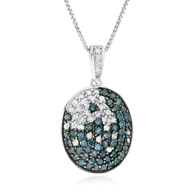 1.00 Carat Blue & White Diamond Pendant in Sterling Silver with Chain