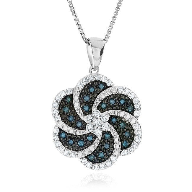 0.50 Carat Blue & White Diamond Pendant in Sterling Silver with Chain