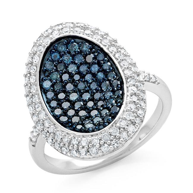 1.00 Carat Blue & White Diamond Ring in Sterling Silver