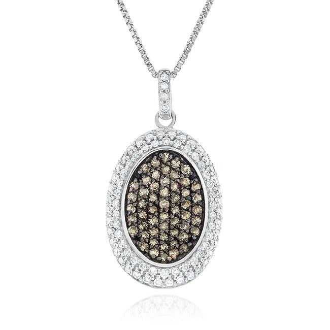 1.00 Carat Champagne & White Diamond Pendant in Sterling Silver with Chain