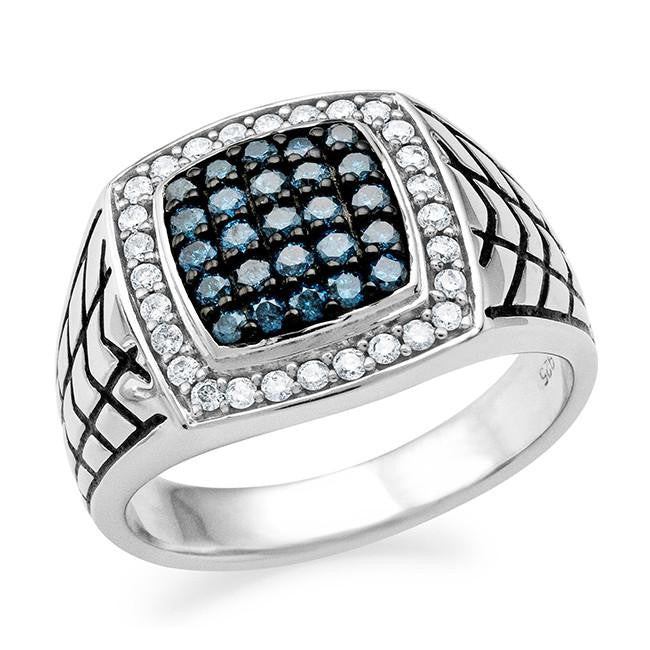 0.75 Carat Blue & White Diamond Mens Ring in Sterling Silver