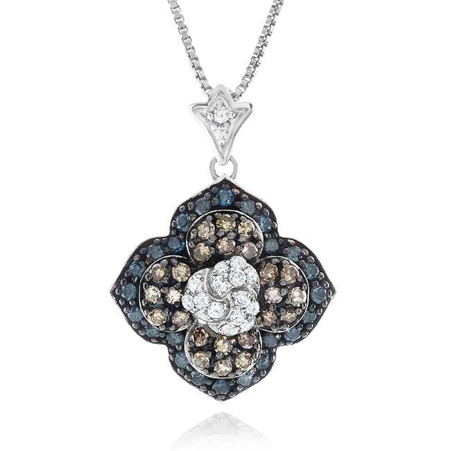 1.00 Carat Blue, Champagne & White Diamond Flower Pendant in Sterling Silver with Chain