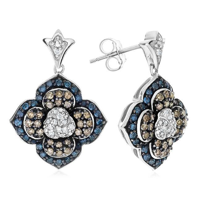 1.00 Carat Blue, Champagne & White Diamond Flower Earrings in Sterling Silver