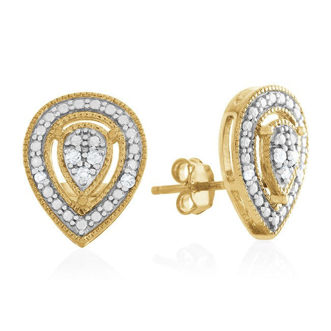 0.10 Carat tw Diamond Pear Earrings in Gold Over Sterling Silver