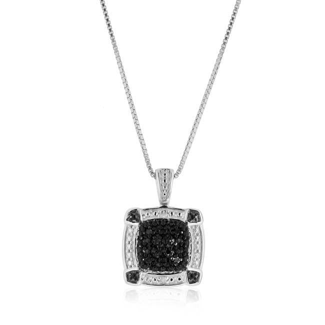 0.10 Carat Black & White Diamond Pendant in Sterling Silver with Chain