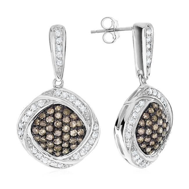 0.85 Carat Champagne & White Diamond Earrings in Sterling Silver