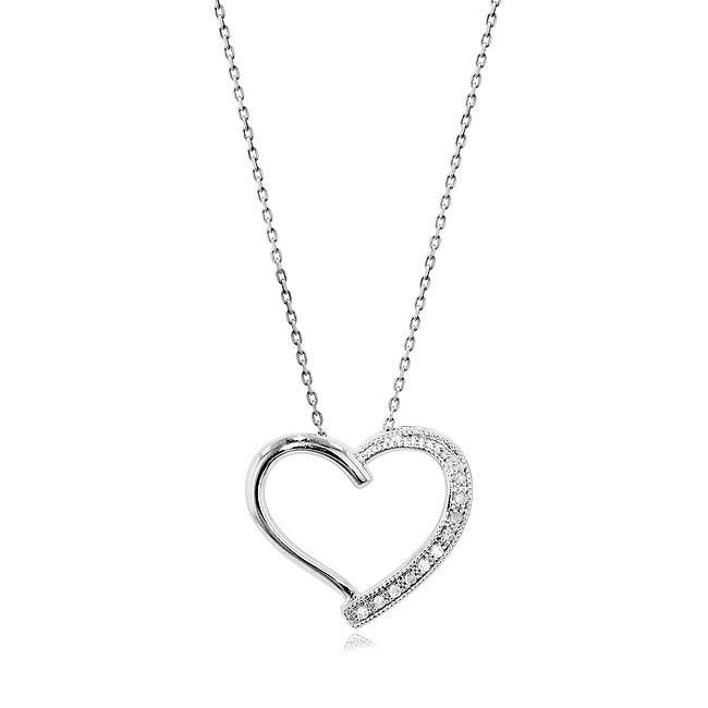 0.10 Carat tw Diamond Heart Pendant in Sterling Silver with Chain