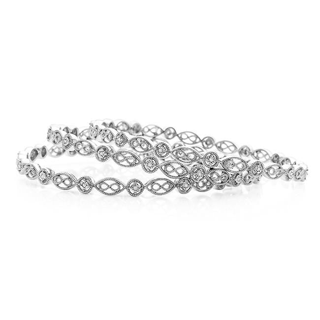 Diamond Miracles: 0.33 Carat Diamond 3-Piece Bangle Bracelets in Sterling Silver