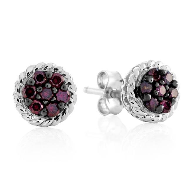 1/4 Carat Treated Pink Diamond Cluster Earrings in Sterling Silver