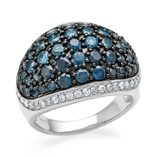 3.00 Carat Blue & White Diamond Ring in Sterling Silver