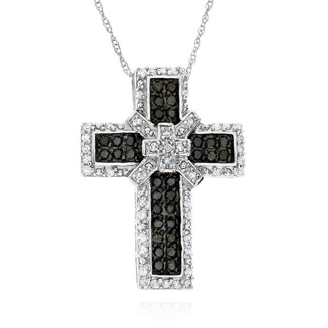 0.50 Carat Black & White Diamond Cross Pendant in 10k White Gold with Chain