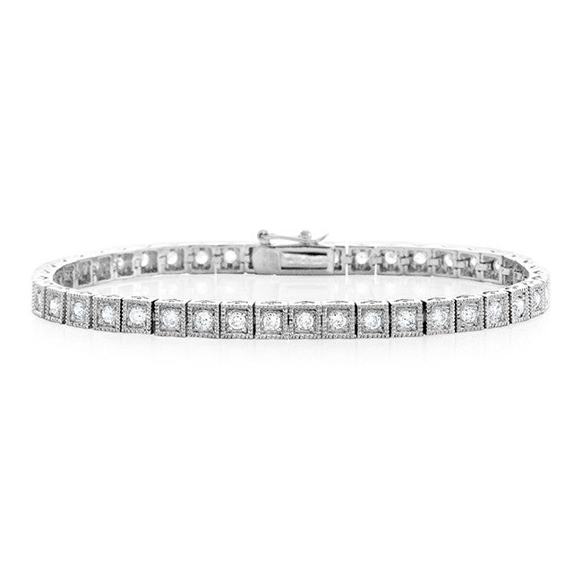 Sterling Silver Bracelet with White CZ - Size 7.25""