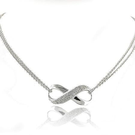 1/4 Carat Diamond & Sterling Silver Infinity Necklace