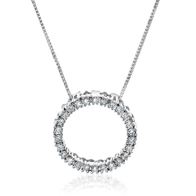 14K White Gold 0.25 Carat Diamond Pendant w/ chain