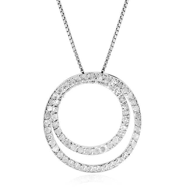 1.10 Carat Diamond Two-Circle Pendant in Sterling Silver - 18""