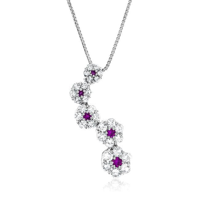 Sterling Silver Ruby and White Sapphire Pendant
