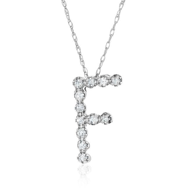 "10K White Gold ""F"" Pendant on Chain 18"""