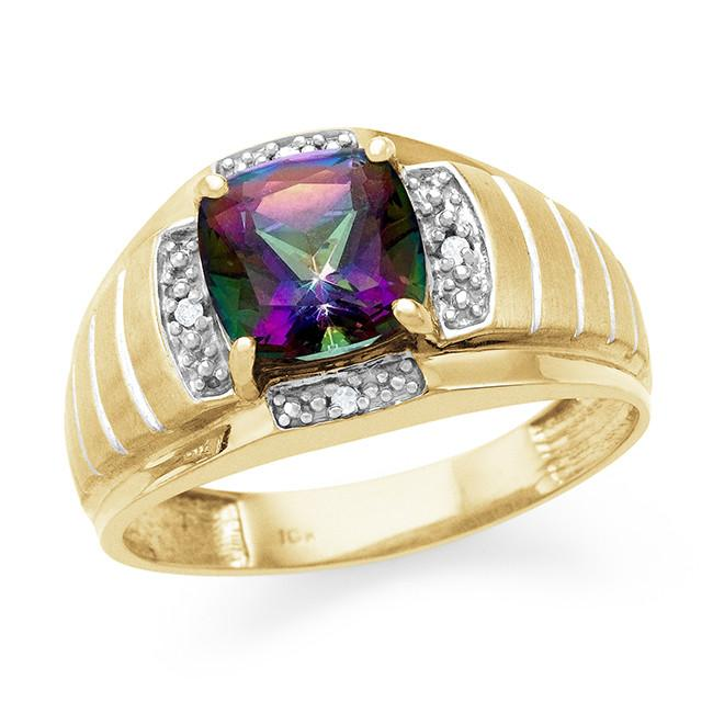 10K Yellow Gold Diamond with Mystic Topaz Men's Ring