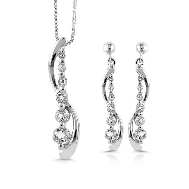 2.00 Carat White Sapphire Necklace and Earring 'Journey' Set in Sterling Silver