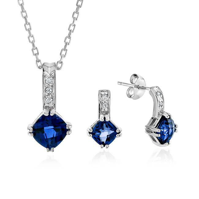 2.35 Carat Created Tanzanite and White Sapphire Necklace and Earring Set in Sterling Silver