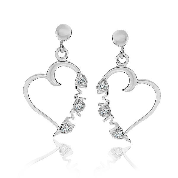 Diamond Accent MOM Heart Dangle Earrings in Sterling Silver
