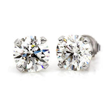 Load image into Gallery viewer, Near 1/2 Carat (.40 ctw) Round Diamond Stud Earrings in 14K White Gold (H-I,I2)