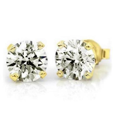 Near 1.00 Carat (.80ctw) Diamond Stud Earrings in 10K Yellow Gold (I-J;I2-I3)