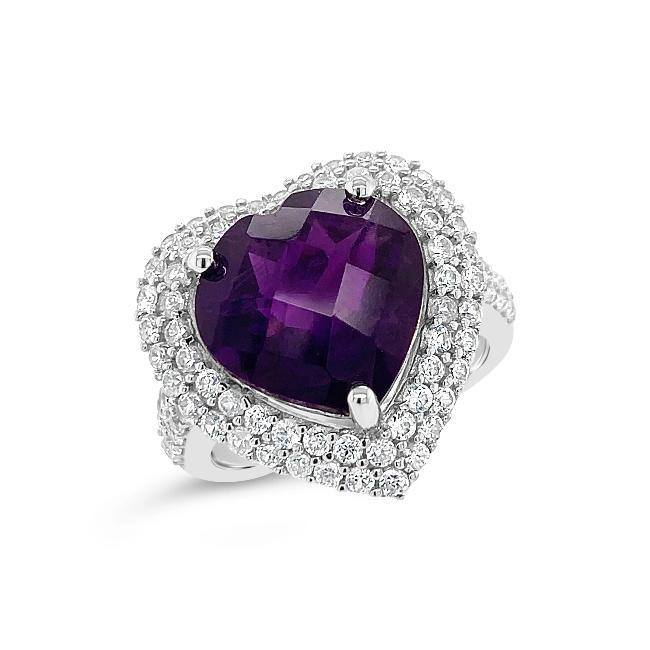3.25 Genuine Amethyst & White Zircon Heart Ring in Sterling Silver