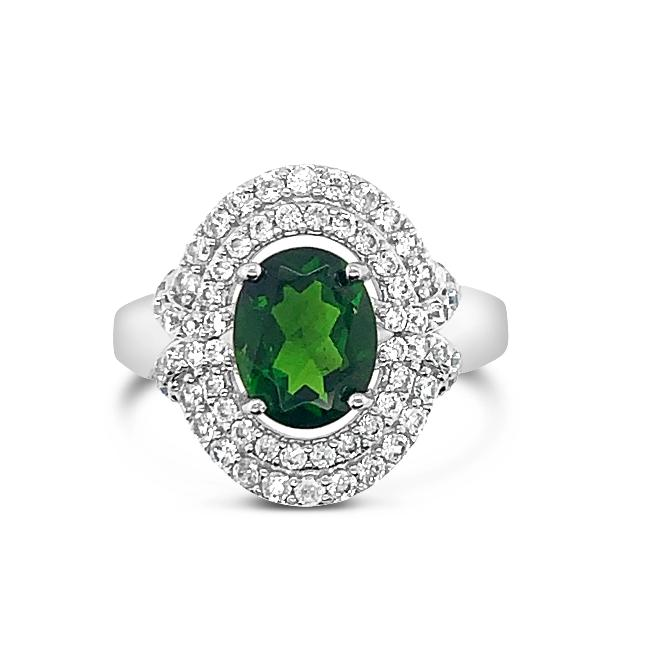 1.30 Carat Chrome Diopside & White Zircon Ring in Sterling Silver