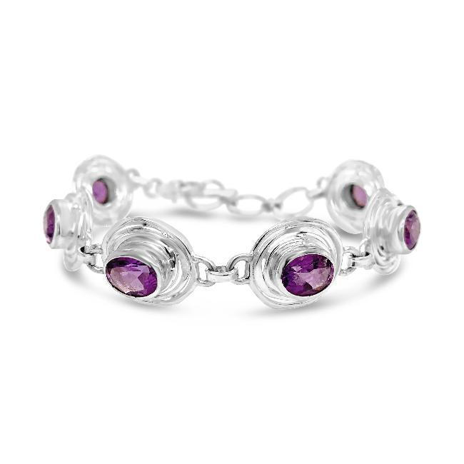 5.00 Carat Genuine Amethyst Retro Toggle Bracelet in Sterling Silver - 8""