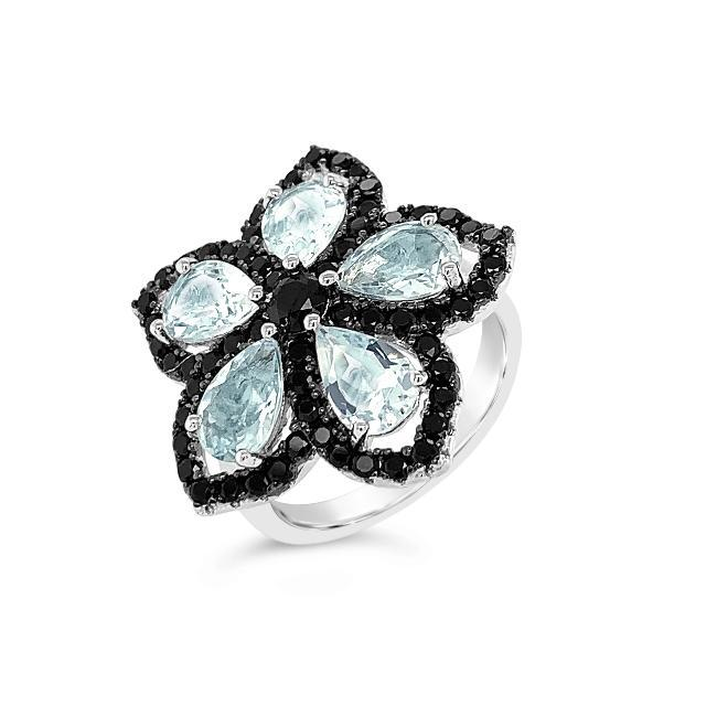 3.25 Genuine Aquamarine & Black Spinel Flower Ring in Sterling Silver