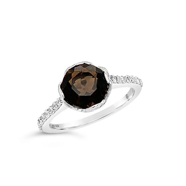 2.20 Genuine Smokey Quartz & White Zircon Ring in Sterling Silver