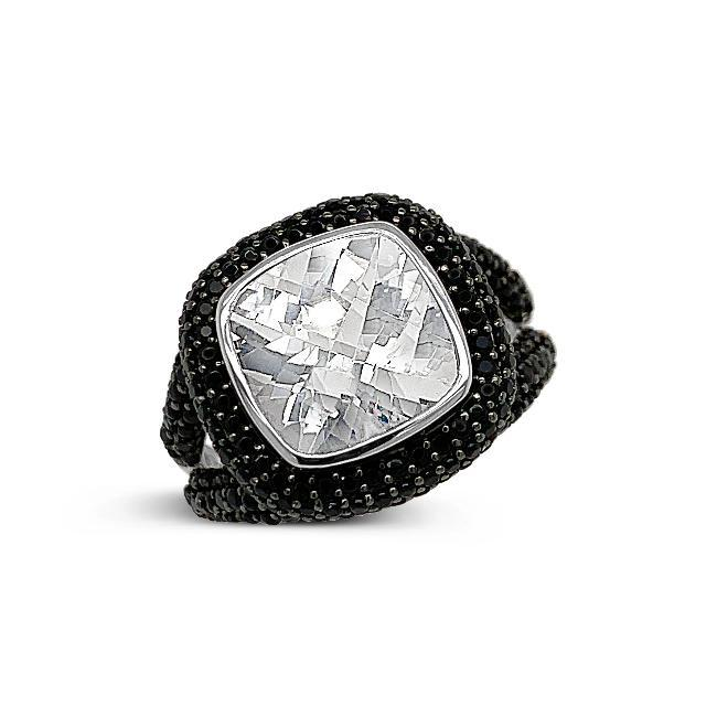 5.00 Carat Genuine Goshenite & Black Spinel Ring in Sterling Silver