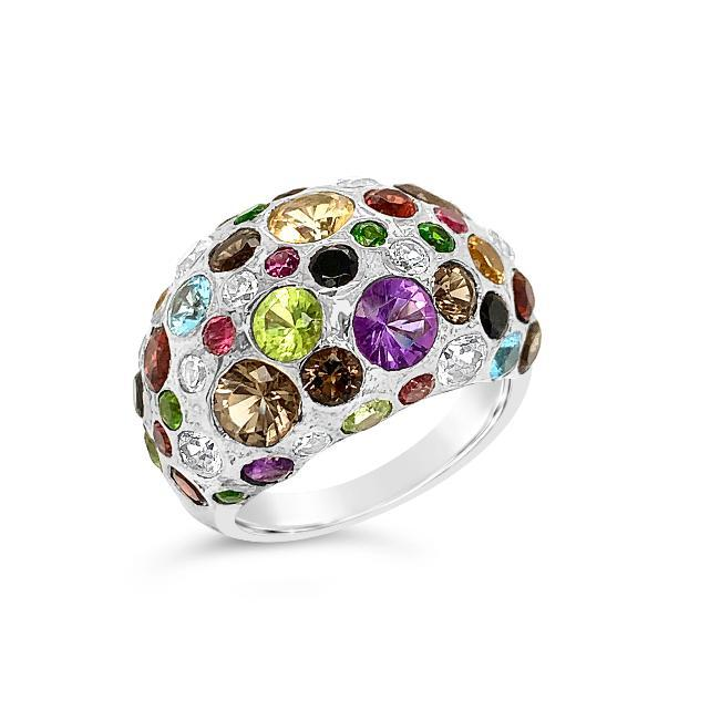 2.75 Carat Genuine Multi-Color Gemstone Dome Ring in Sterling Silver