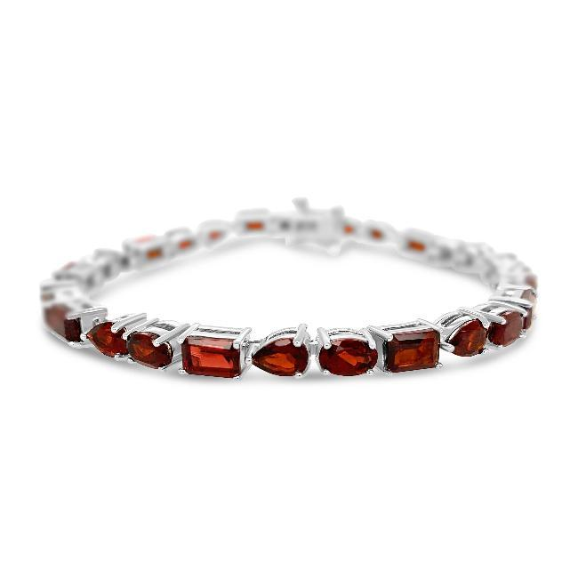 13.00 Carat Multi-Shape Genuine Garnet Bracelet in Sterling Silver - 7""