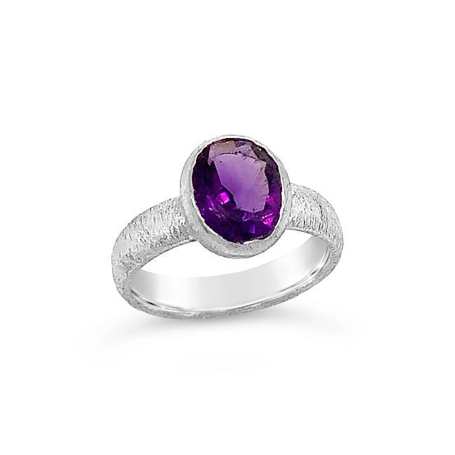 2.00 Carat Genuine Amethyst Fashion Ring in Sterling Silver