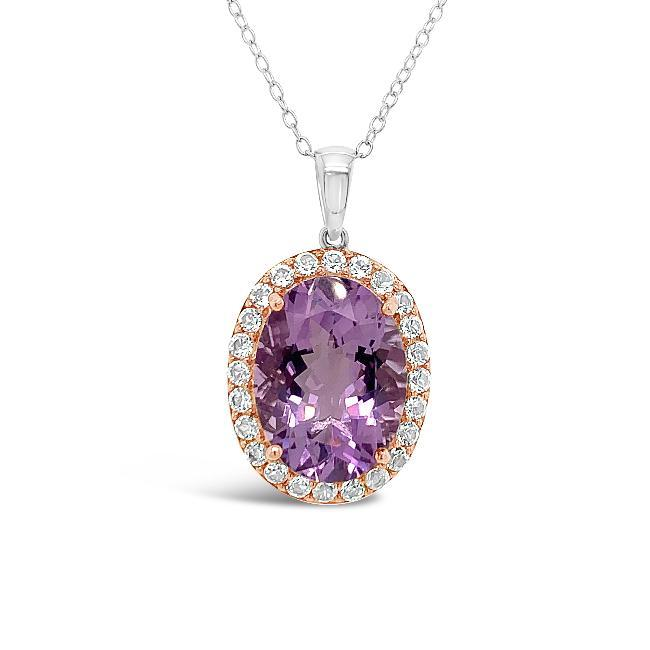 11.00 Carat Genuine Amethyst & White Topaz Pendant in Two-Tone Sterling Silver - 18""