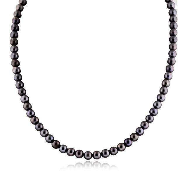 Blue-Brown Pearl Necklace with 10K White Gold Clasp - 18""