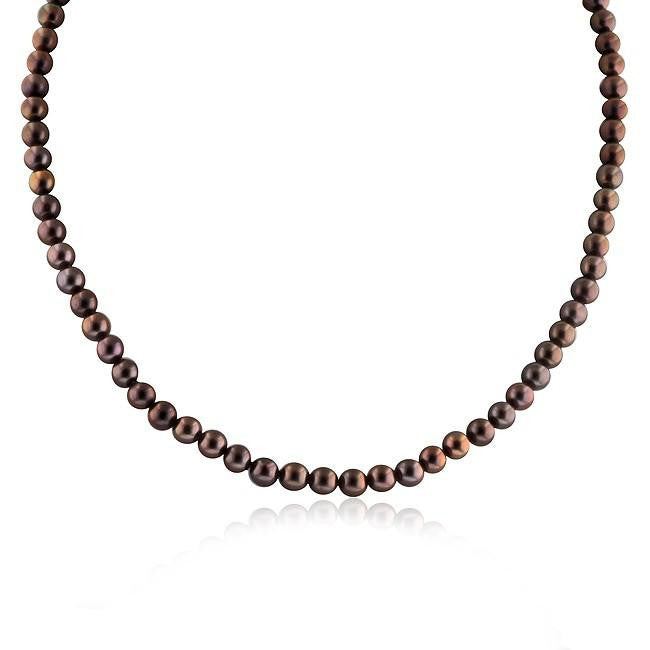Brown Pearl Necklace with 10K White Gold Clasp - 18""