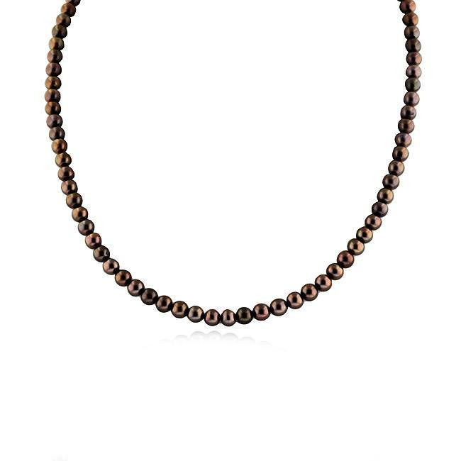 Brown Pearl Necklace with 10K Yellow Gold Clasp - 18""