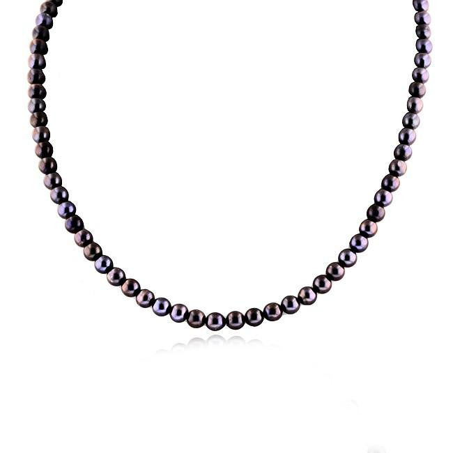 Purple Pearl Necklace with 10K Yellow Gold Clasp - 18""