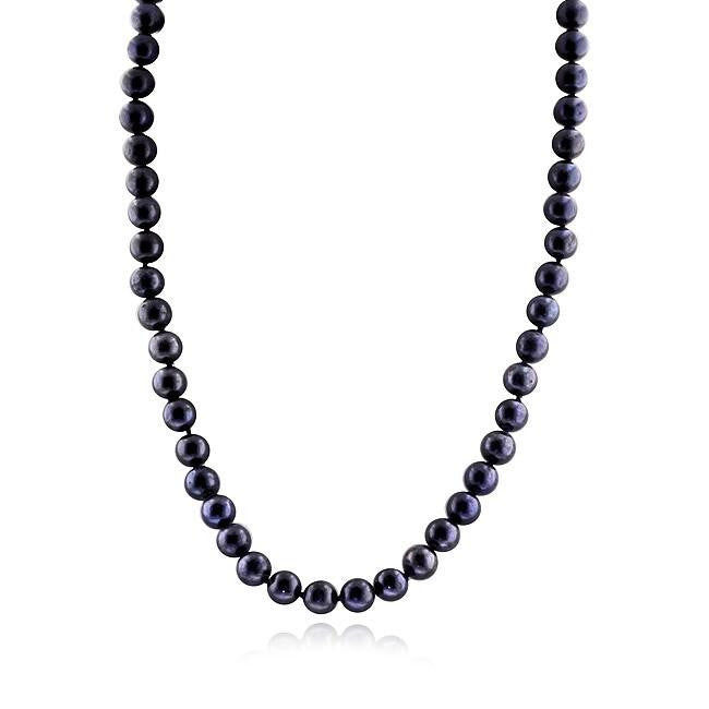 7mm Dark Blue Freshwater Pearl Necklace with 14K White Gold Clasp - 18""