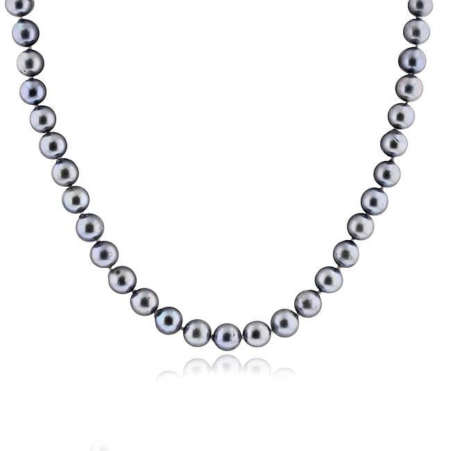Blue-Gray Pearl Necklace with 14K Yellow Gold Clasp - 18""