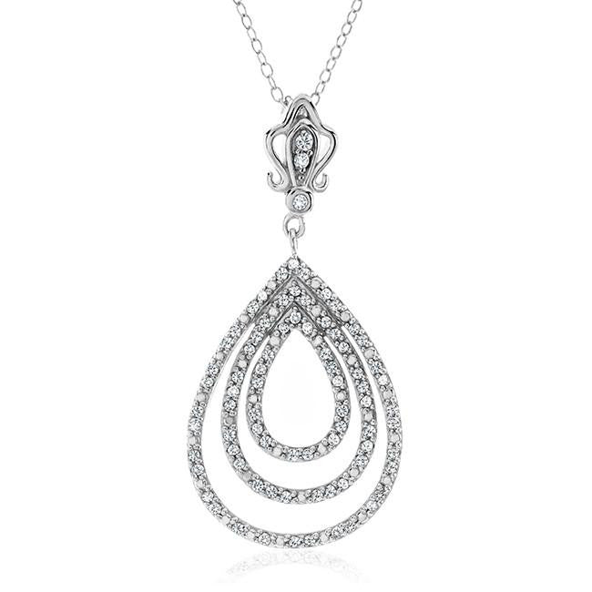 1/2 Carat Diamond Teardrop Pendant in Sterling Silver with Chain