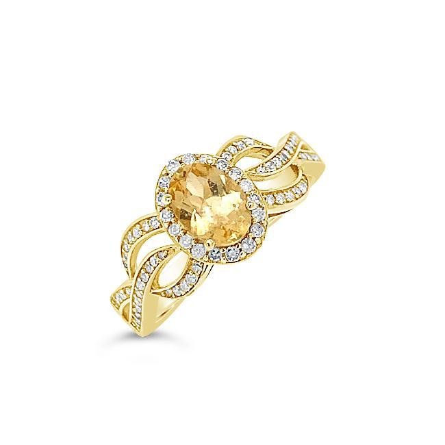 1.15 Carat Genuine Imperial Topaz & Diamond Ring in 14K Yellow Gold