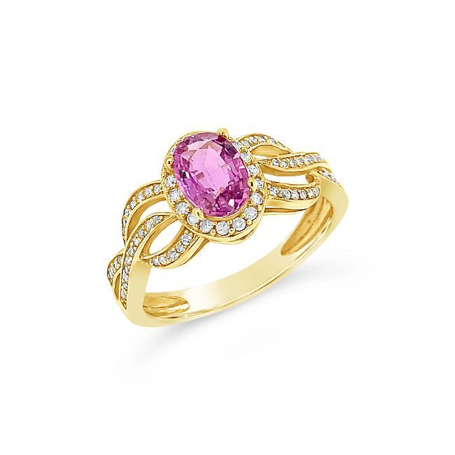 1.15 Carat Genuine Pink Sapphire & Diamond Ring in 14K Yellow Gold