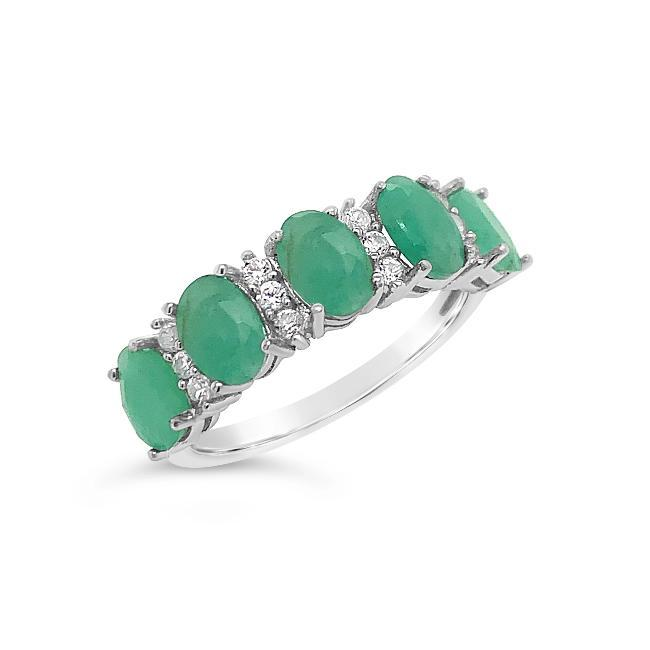 1.75 Genuine 5-Stone Emerald & White Zircon Ring in Sterling Silver