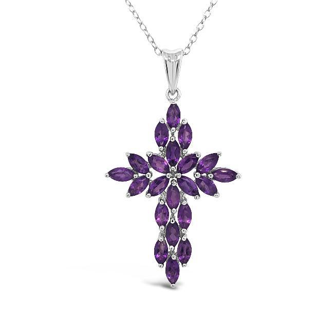 3.25 Carat Genuine Amethyst Cross Pendant in Sterling Silver  - 18""