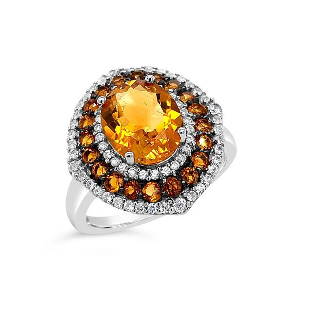 3.25 Carat Genuine Citrine & White Zircon Ring in Sterling Silver